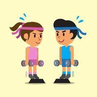 Cartoon man and woman doing standing dumbbell calf raise exercise vector