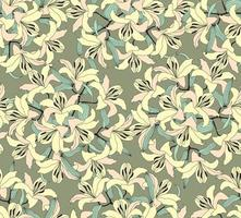Floral seamless pattern. Flower yellow lilies bouquet stylish drawn background. Floral seamless texture with flowers. vector
