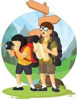 Cartoon Backpacker Boy Vacation Girl Hiking Mountain Vector Drawing