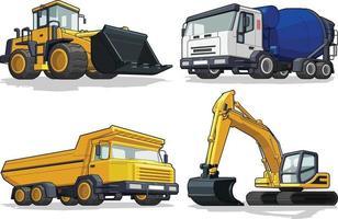 construcción, máquina pesada, excavadora, excavadora, camión de cemento, camión de transporte vector