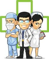 Health Care Medical Staff Doctor Nurse Surgeon Cartoon Vector Drawing