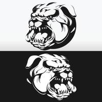 Silhouette Angry Bulldog Head Barking Biting Isolated Vector Drawing