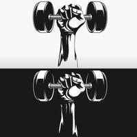 Silhouette Muscular Hand Gym Round Dumbbells Stencil Vector Drawing set