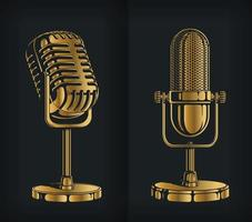 Silhouette Classic Gold Retro Microphone Stencil Logo Vector Drawing set