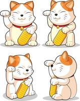Asian Mascot Japanese Lucky Cat Cartoon Drawing Vector Illustration set