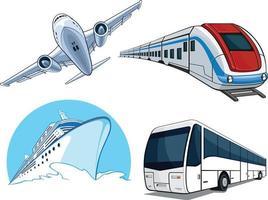 Airplane Train Cruise Ship Transportion Vehicle Cartoon Vector Drawing set