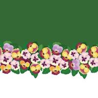 Floral seamless border pattern. Flower heartsease background. Floral seamless decor with flowers. Flourish tiled wallpaper vector