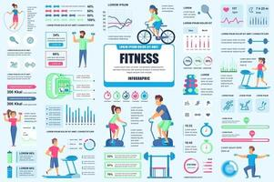 Bundle fitness and sports infographic elements vector