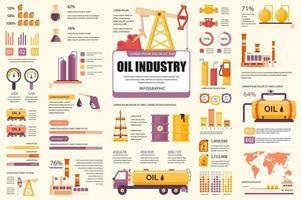 paquete de elementos infográficos de la industria petrolera vector