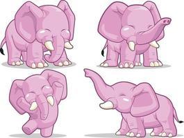 feliz, elefante, caricatura, lindo, animal, mascota, dibujo, vector, ilustración, conjunto vector