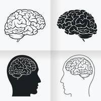 silueta simple cerebro dentro de la cabeza humana doodle conjunto de dibujos de imágenes prediseñadas vector