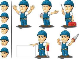 Technician Cartoon Repairman Mascot Electrican Avatar Vector set