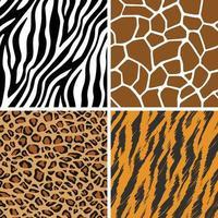 Seamless Pattern Giraffe Leopard Tiger Zebra Print Animal Background set vector