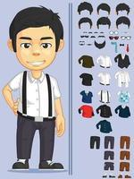 Cartoon Boy Dress Up Game Asset Vector Clothes Illustration Drawing set