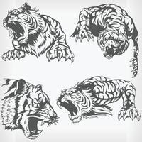 silueta tigre enojado cabeza rugiendo plantilla dibujo vector set
