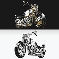 silueta, retro, motocicleta, chopper, motorista, plantilla, aislado, dibujo, conjunto vector