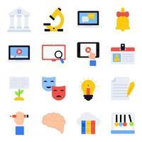 paquete de artículos de escritura de iconos planos vector