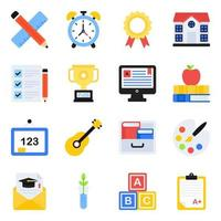 Pack of School Accessories Flat Icons vector