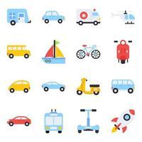 paquete de iconos planos de viaje vector