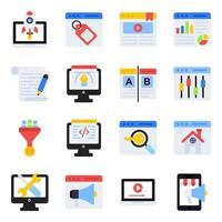 paquete de iconos planos de marketing online vector