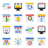 Pack of Web Shopping Flat Icons vector