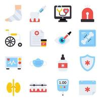 Pack of Healthcare Flat Icons vector
