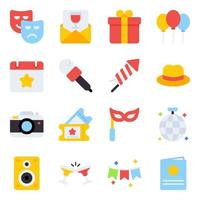 Pack of Party Flat Icons vector