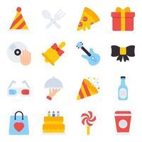 paquete de iconos planos de celebración vector