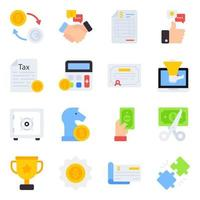 Pack of Business and Finance Flat Icons vector