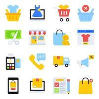 paquete de iconos planos de compras vector