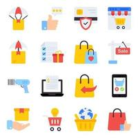 Pack of Purchasing Flat Icons vector