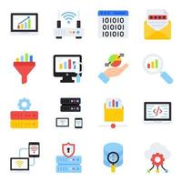 Pack of Graphical Flat Icons vector