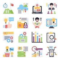 paquete de iconos planos corporativos vector