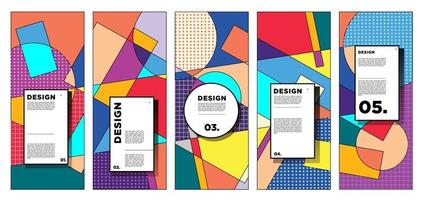 Vector vertical banner design template with colorful abstract geometric background