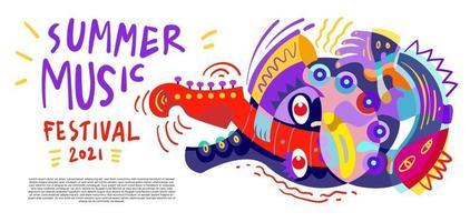 Vector illustration colorful summer music festival banner