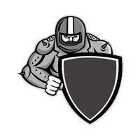 biker holding shield mascot vector
