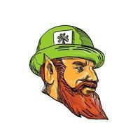 Leprechaun Head Side Drawing vector