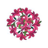 Flower bouquet over white background. Floral frame. Flourish greeting card design element. Summer decor vector
