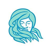 lady with sea hair mascot vector