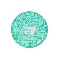 Polynesian Woman Sea Kelp Hair Circle Mono Line vector