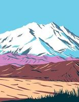 Parque nacional y reserva denali, anteriormente conocido como parque nacional monte mckinley ubicado en el interior de alaska wpa poster art vector