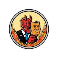 diablo con máscara con llamas vector