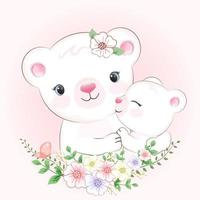 Little bear and mom, mother day concept vector