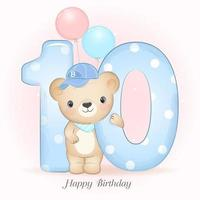 Bear birthday party with number 10 vector