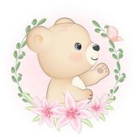 linda ilustración de marco de oso y flora vector