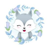 Fox and flora frame, watercolor illustration vector
