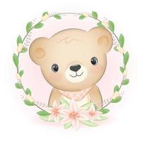 Bear and flora frame, cartoon animal watercolor illustration vector