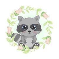 Raccoon and flower frame vector