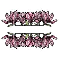 Border, frame of magnolia flowers, blooming flowers silhouette. Spring, floral design for cards, invitations, packaging vector