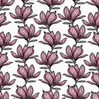 patrón transparente con contorno de magnolia negra. flores de primavera dibujadas a mano ilustración vectorial. blanco y negro con arte lineal sobre fondos blancos vector